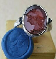 Intaglio Silver 925 Seal Ring- Ancient -Vintage-Antique ROMAN  Natural Carnelian