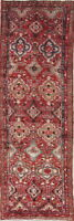 ANTIQUE One-of-Kind Geometric Hamadan Oriental Hand-Knotted 3x10 WOOL Runner Rug