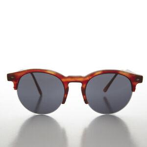 Round Browline Tailored Vintage Sunglass Matte Tortoise / Gray Lens - Sorin
