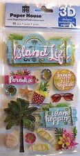 Island Life Flip Flops Palm Trees Paradise Beach Seashell Paper House 3D Sticker