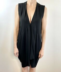 Rick Owens Size 10 12 Black Draped Layering Dress Luxury US Designer Made Italy