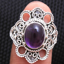 Purple Amethyst Gemstone 925 Sterling silver Handmade Ring Size us 8.75