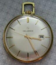 Superb Helbros 17 Jewel ~ Calendar Pocket Pendant Watch ~ 40mm face