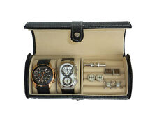 2 WATCH BLACK CARBON FIBER ROLL CUFFLINK TRAVEL ORGANIZER CASE COLLECTOR GIFT