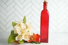 Decorative Mini Bright Red Glass Bottle, Oil Decanter, Vintage Bottles, Bud Vase