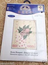 """DMC déco fil point de croix roses Kit bouquet 14 x 10 """" 35x25cm bk045"""