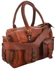 """15"""" Women Vintage Looking Genuine Brown Leather Tote Shoulder Bag Handmade Purse"""