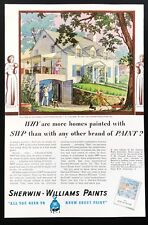 1937 Vintage Print Ad SHERWIN WILLIAMS Paint SWP House Remodel Illustration