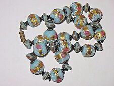 WOW! VINTAGE ART DECO  BLUE VENETIAN MURANO WEDDING CAKE GLASS BEAD NECKLACE