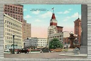 Intersection of 14th and Broadway Oakland California Linen Postcard-Old Cards