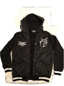 The Hundreds HUGE Embroidered Atom Bomb Hooded Black Varsity Jacket Mens Large