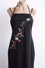 City Triangles Long Spaghetti Strap Black Floral Embroidered Dress Size Small