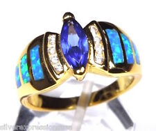 18k Gold Over Sterling Silver Tanzanite & Blue Fire Opal Inlay  Ring Sz 6-9