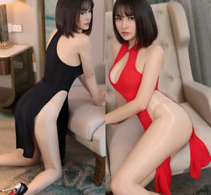 Women Cheongsam High Side Split Costumes Dress Open Bra Funny Exotic Lingerie