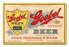 "GOEBEL BEER JOHN DEHRING & SONS DETROIT 18"" HEAVY DUTY USA MADE METAL ADV SIGN"