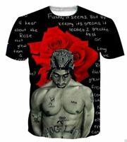 3D print Rapper Tupac 2Pac Short Sleeve T-Shirt Fashion Unisex Casual Tops Tee
