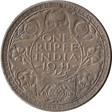 1941 India (British) 1 Rupee Large Silver Coin KM#556