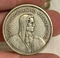 1932 B 5 Franc SWISS SWITZERLAND Silver Coin HALF DOLLAR Word Edge Eye Appeal