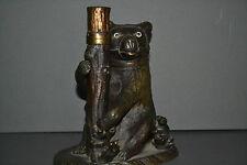 Ancien début XXème siècle bronze / laiton patiné figurées bear inkwell, c 1910