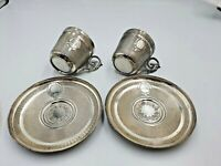 Old Vintage Silver Plated Cups and Saucers x 2