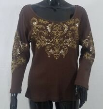 Soft Surroundings Blouse Top Size Large Brown Ribbed Sequin Beaded 3/4 Sleeve