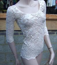 Superbe beige crème nude sexy crochet dentelle manches 3/4 dentelle haut féminin s/m fab