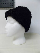 Vintage Faux Persian Lamb Curly Fur Women's Hat w/ Gross Grain Ribbon Bow