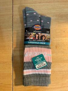 NWT Dickies Women's Lifestyle Grey Retro Dot Crew Socks - 1 Pair - Shoe Size 6-9