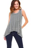 New Women's Olive Sleeveless Lace Flare Handkerchief Swing Tunic Tank Top S-XL