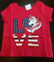 GIRLS INFANT TCP UNICORN LOVE USA FLAG RED SIZE 9-12 MONTHS TEE SHIRT NWT