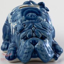 Porcelain Bulldog w butterfly Penny box, bank Dog Figurine Gzhel colors handmad