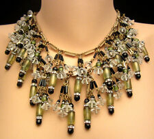 """Rare Vtg 18"""" Signed Miriam Haskell Brass Glass Drippy Fringe Dangle Necklace A33"""