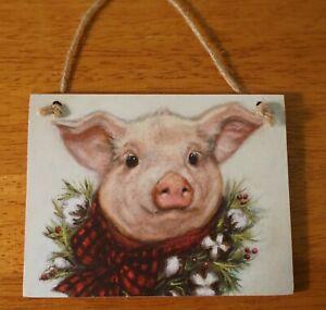 ADORABLE CHRISTMAS PIG ORNAMENT SIGN Country Primitive Farm Farmhouse Decor NEW