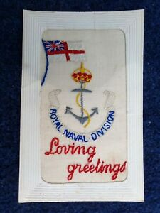 WW1 Embroidered Silk Postcard: 1914-18: ROYAL NAVAL DIVISION