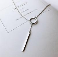925 Sterlingsilber Damen Halskette Circle Balken Bar Lang Kette Silber Filigran