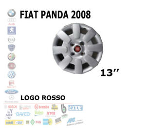 COPRICERCHI COPPA RUOTA LOGO ROSSO FIAT PANDA 2008 R13 RAGGIO 13'' POLLICI 1302