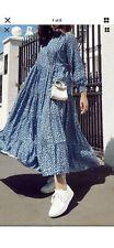 ZARA The Angel Dress Blue pattern spotty Small maxi Midi Printed Dress Sold Out