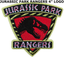 "Jurassic Park Movie Logo Stripe Rangers 4"" Deluxe Patch Dinosaur T-Rex New"