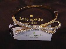 Authentic Kate Spade Crystal Bow Tied Up Gold Tone Pave Hinge Bracelet Dust Bag