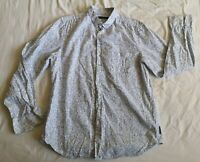 French Connection Men's White Blue Floral Shirt Size L Large Good Used Condition