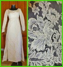 Vtg 60s CONTESSA Bridals Ivory satin Alencon LACE Train maxi Wedding DRESS GOWN