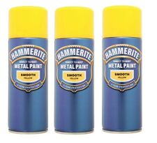 3 Tins Hammerite Quick Drying - Aerosol Smooth Yellow Spray Paint - 400ml