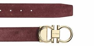 Authentic Salvatore Ferragamo Pop Capsule Suede Nebbiolo Red Belt Size 36 NWT