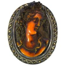 ANTIQUE AMBER CAMEO BROOCH STERLING SILVER HIGH RELIEF & DETAIL VINTAGE ESTATE