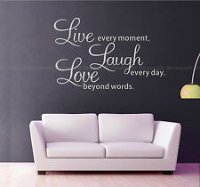 Wall Quotes Decals Stickers Decors Vinyl Art Live Laugh Love (small White)