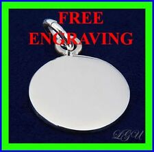 STERLING SILVER 12mm SMALL TINY CIRCLE PENDANT FREE ENGRAVING
