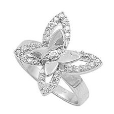 Sterling Silver Butterfly Cocktail Ring with clear CZ Size 5.5