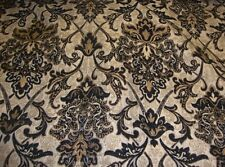 """Chenille Upholstery 57"""" Wide Black Damask Drapery fabric by the yard"""