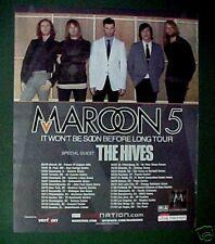Maroon 5 & The Hives Rock~Roll Album Music Memorabilia Concert Tour Promo Art Ad