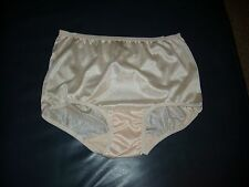 Full Brief Beige  / Blush  Shimmering Nylon Granny Panties  No Lace  Size 10